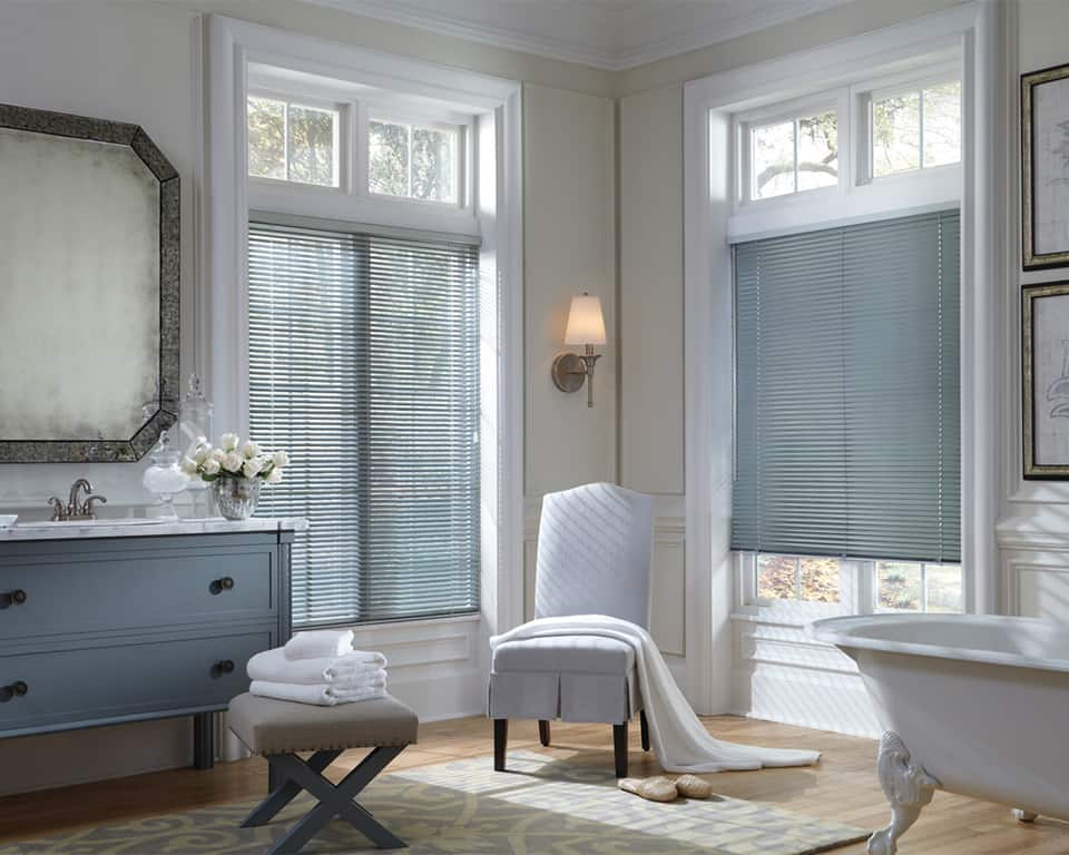 Modern Precious Metals Aluminum Blinds in Lincoln and Omaha, Nebraska (NE) for Privacy in Bathrooms